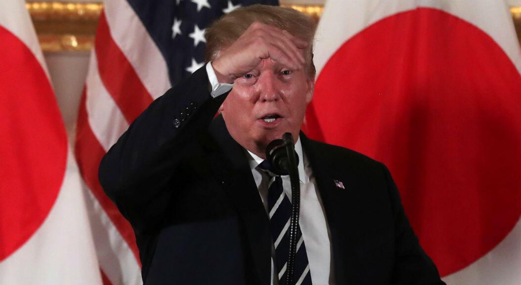 El presidente de los Estados Unidos, Donald Trump, asiste a un evento de líderes empresariales japoneses en Tokio, el 25 de mayo de 2019.
