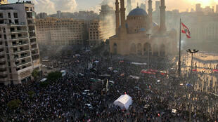 Demonstrators take part in a protest, following Tuesday's blast, in Beirut, Lebanon August 8, 2020.