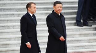 Emmanuel Macron et Xi Jinping à Pékin, le 6 novembre 2019.