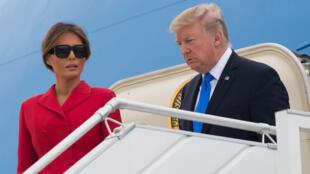 Arrivée de Donald et Melania Trump, à Orly, jeudi 13 juillet 2017.