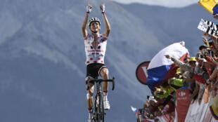Le Français Warren Barguil, vainqueur de la 18e étape du Tour de France 2017.