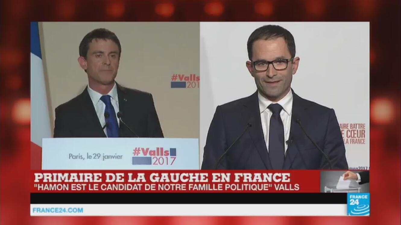 Benoît Hamon (à droite) a pris la parole alors que Manuel Valls (à gauche) n'avait pas encore fini son discours de défaite...