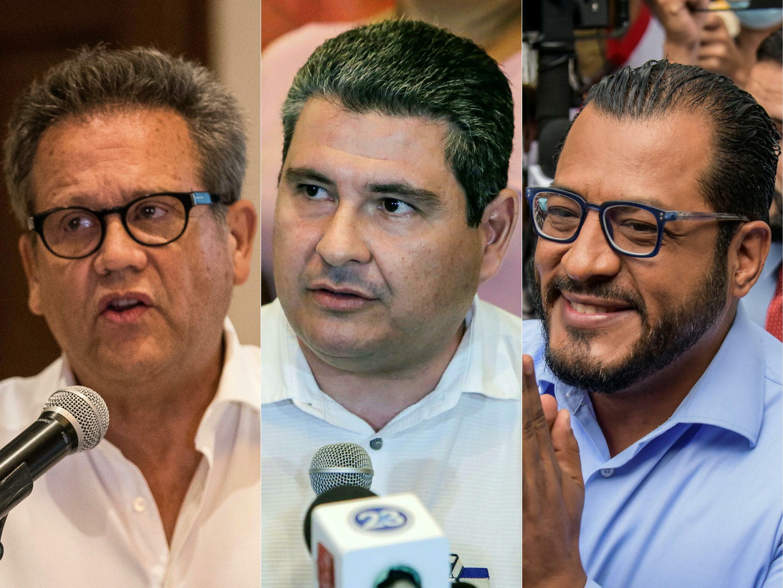 Diplomat and professor Arturo Cruz (L), and would-be presidential candidates Juan Sebastian Chamorro (C) and Felix Maradiaga are among those held at El Chipote