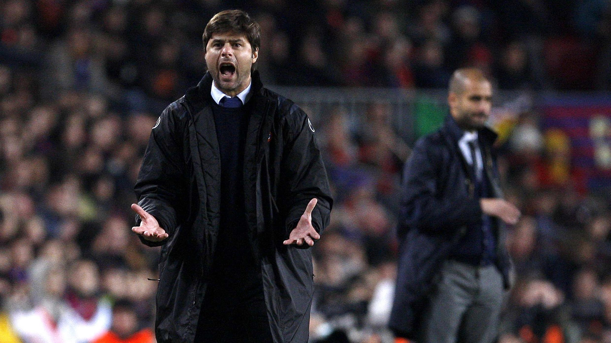 Pochettino facing Guardiola's Barcelona back in 2009.