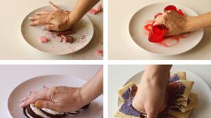 """Contre l'injonction à la perfection, l'artiste Mar Cuervo écrase des gâteaux en signe de protestation contre """"tout ce qui est beau, petit, mignon, fragile""""."""