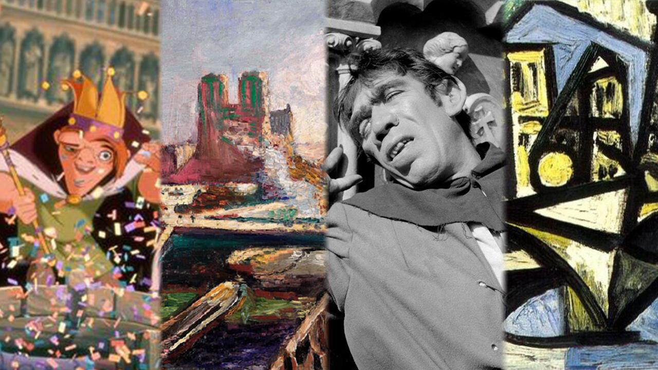 Imagen de las películas y obras de arte inspiradas en la catedral de Notre Dame de París, Francia.
