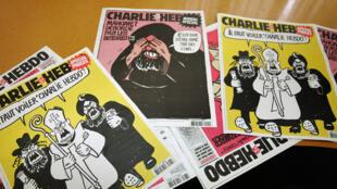 """Quelques couvertures de """"Charlie Hebdo""""."""