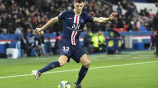 Thomas Meunier, sous le maillot du PSG, contre l'AS Monaco au Parc des Princes, le 12 janvier 2020