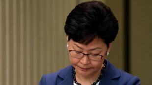 La jefa del Ejecutivo hongkonés, Carrie Lam, durante su comparecencia del lunes, 10 de junio de 2019.