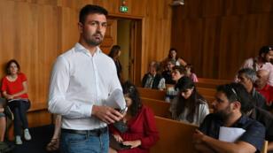 Clément Gandelin, président de Génération identitaire, lors du procès de plusieurs membres du groupe, le 11 juillet 2019, à Gap.