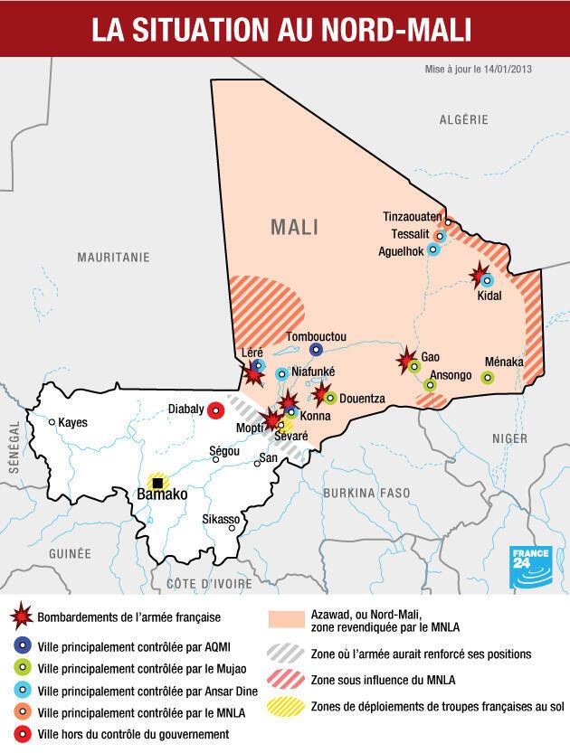La ligne de front malienne, le 14 janvier