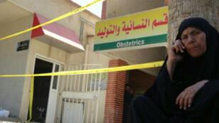 مدخل قسم النسائية والتوليد في المستشفى الذي تعرض للحريق