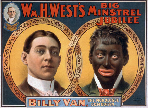 """A 1900 minstrel show poster shows the transformation of a performer from white to """"black""""."""