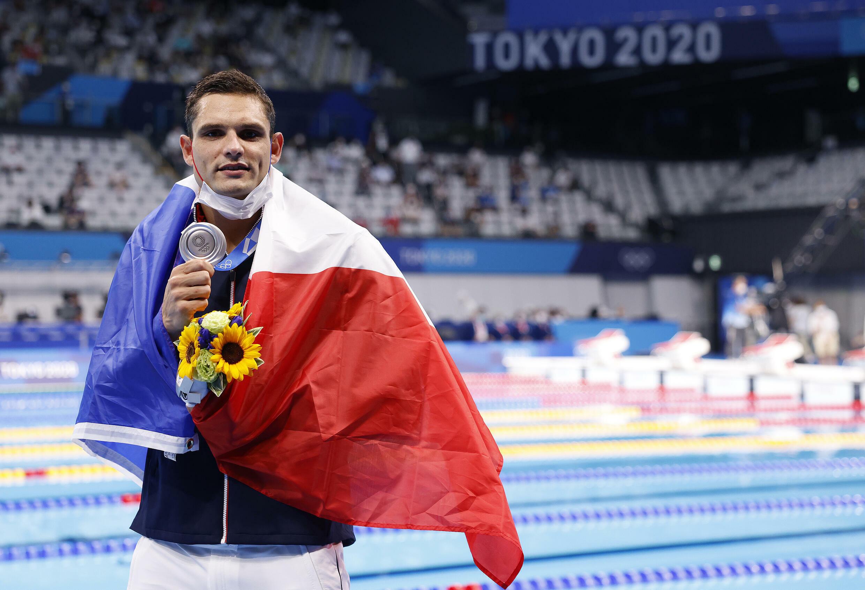 Florent Manaudou médaillé d'argent sur 50 m libre aux JO de Tokyo, le 1er août 2021