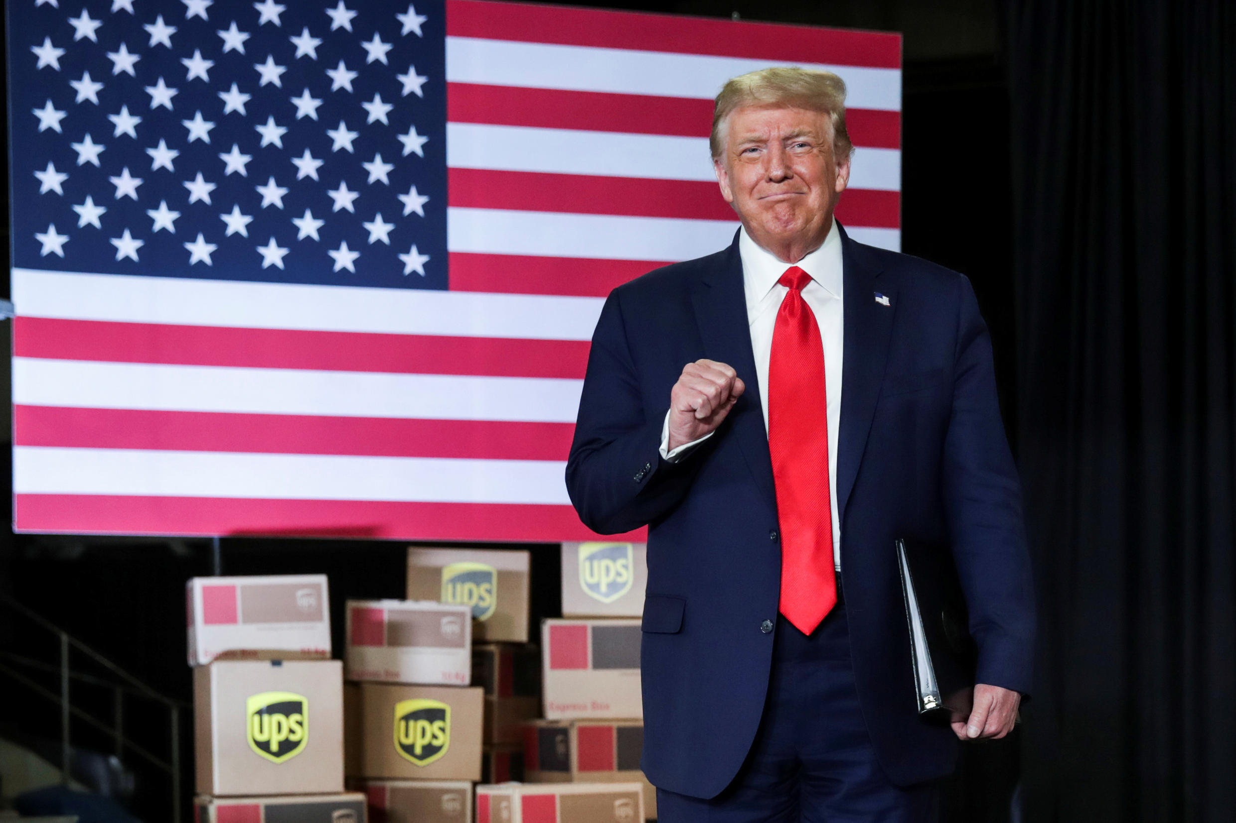 US President Donald Trump arrives to speak at an event at the UPS Airport Facility in Atlanta, Georgia, on July 15, 2020. REUTERS/Jonathan Ernst