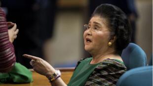 Imelda Marcos assistant au troisième discours sur l'état de la Nation, le 23 juillet 2018.