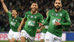 Saint-Etienne's Ryad Boudebouz celebrates after scoring the winner at the Geoffroy Guichard stadium on Thursday.