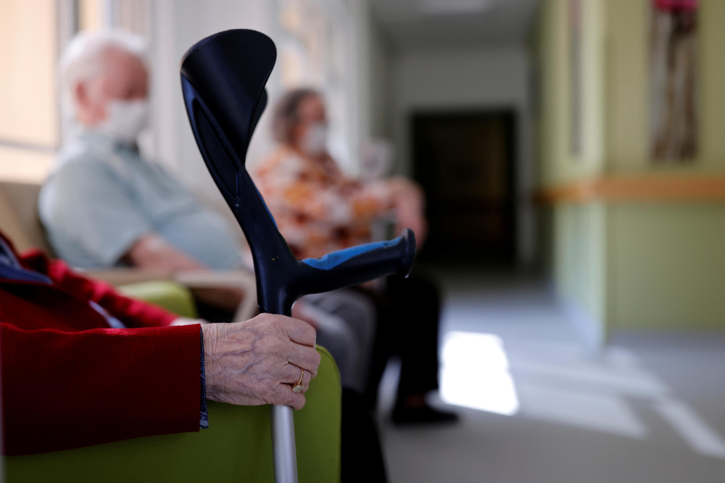 Residents are seen at the La Weiss retirement home (EHPAD - Housing Establishment for Dependant Elderly People) in Kaysersberg, as the spread of the coronavirus disease (COVID-19) continues in France, April 16, 2020. Picture taken April 16, 2020.