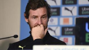L'entraîneur portugais de l'Olympique de Marseille, André Villas-Boas, lors d'une conférence de presse, le 26 janvier 2021 à Marseille