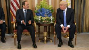 El presidente egipcio Abdel Fattah al-Sisi y su homólogo estadounidense en Riyadh el 21 de mayo de 2017