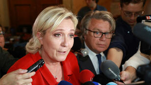 """Marine Le Pen, présidente du Front national, était présente au séminaire de """"refondation"""" de son parti, samedi 22 juillet 2017."""