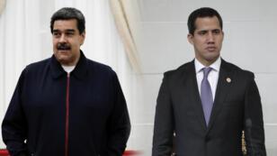 El presidente de Venezuela, Nicolás Maduro, y el líder de la oposición, Juan Guaidó.