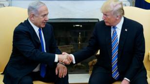 Le Premier ministre Benjamin Netanyahou et le président Donald Trump, le 15 février 2017 à la Maison Blanche.