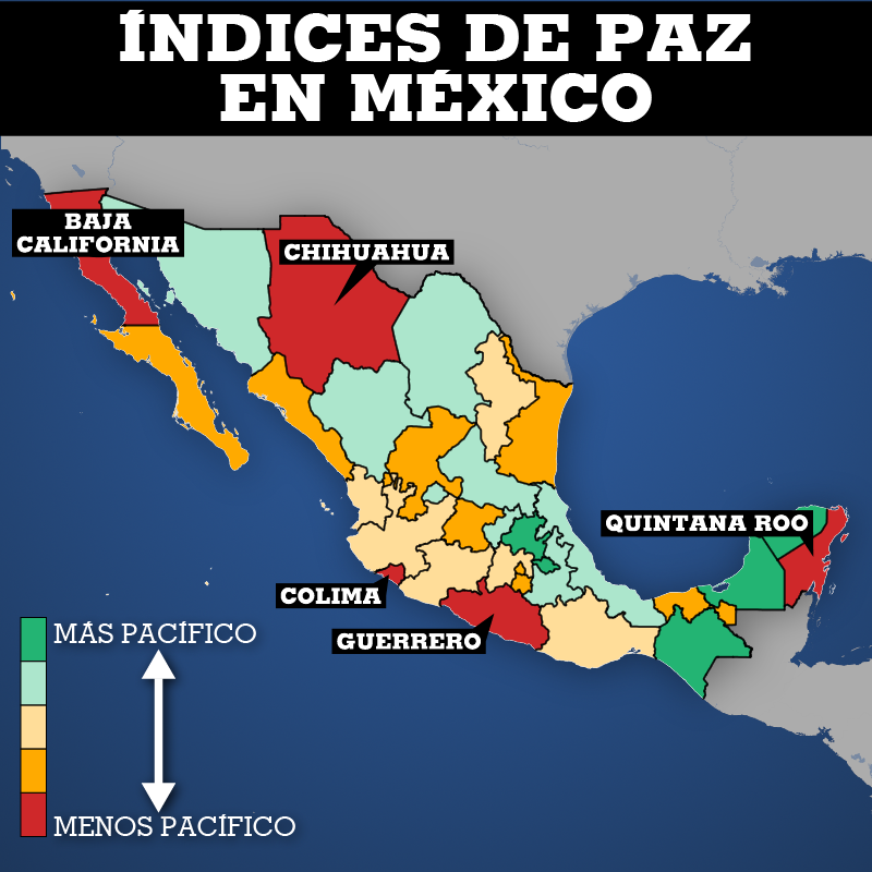 Este mapa contiene los resultados estatales completos del Índice de Paz en México durante el último año cumplido.