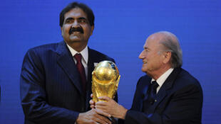 L'émir du Qatar, Hamad ben Khalifa al-Thani et Jospeh Blatter