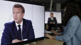 Interview d'Emmanuel Macron à l'Élysée, le 14 juillet 2020 à Paris