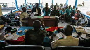 Procès de soldats congolais de la Minusca accusés de viol en Centrafrique, au tribunal militaire de Kinshasa, en avril 2016.