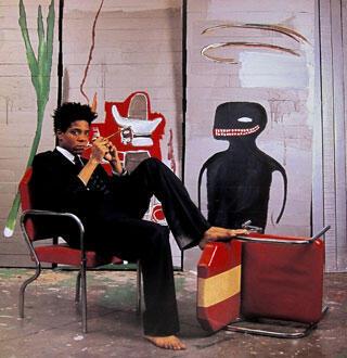 """Il pose devant """"Untitled"""", 1985, acrylique et pastel gras sur bois, 217 x 275,5 x 30,5 cm (détail) Collection particulière Photo : © Lizzie Himmel © The Estate of Jean-Michel Basquiat © ADAGP, Paris 2010"""