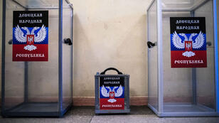 Ballot boxes at a polling station in the eastern Ukrainian city of Donetsk