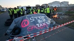 """Protesters blocked access to a fuel depot in La Rochelle, southwest France, on Monday as part of the """"yellow vest"""" movement against high fuel prices"""