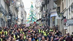 Manifestation de Gilets jaunes à Nantes, le 22 décembre 2018.