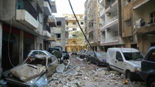 جانب من الدمار الكبير الذي طاول حي مار مخايل في بيروت بعد الانفجار في المرفأ في الخامس من اب/اغسطس 2020