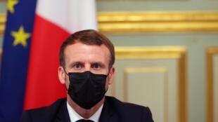 Le président Emmanuel Macron à l'Elysée, le 29 octobre 2020 à Paris
