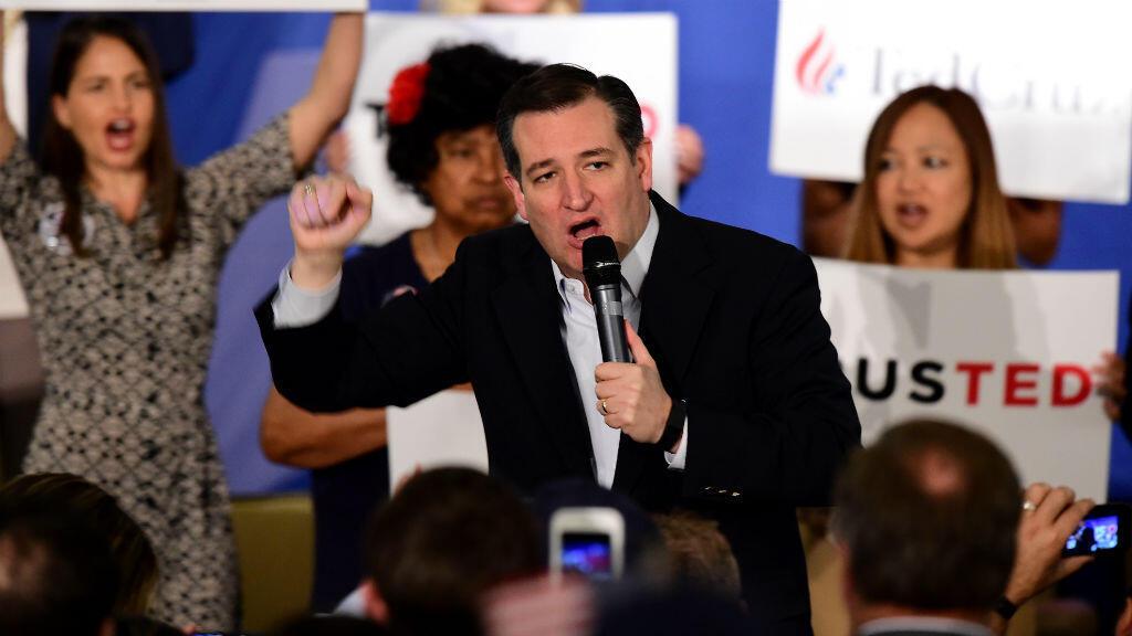 Le candidat à la primaire républicaine et sénateur du Texas Ted Cruz lors d'un meeting à Irvine, en Californie, le 11 avril 2016.