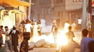 احتجاجات في كشمير تنديدا بإلغاء الهند وضع الحكم الذاتي عن الإقليم المتنازع عليه مع باكستان. 23 أغسطس/آب 2019.