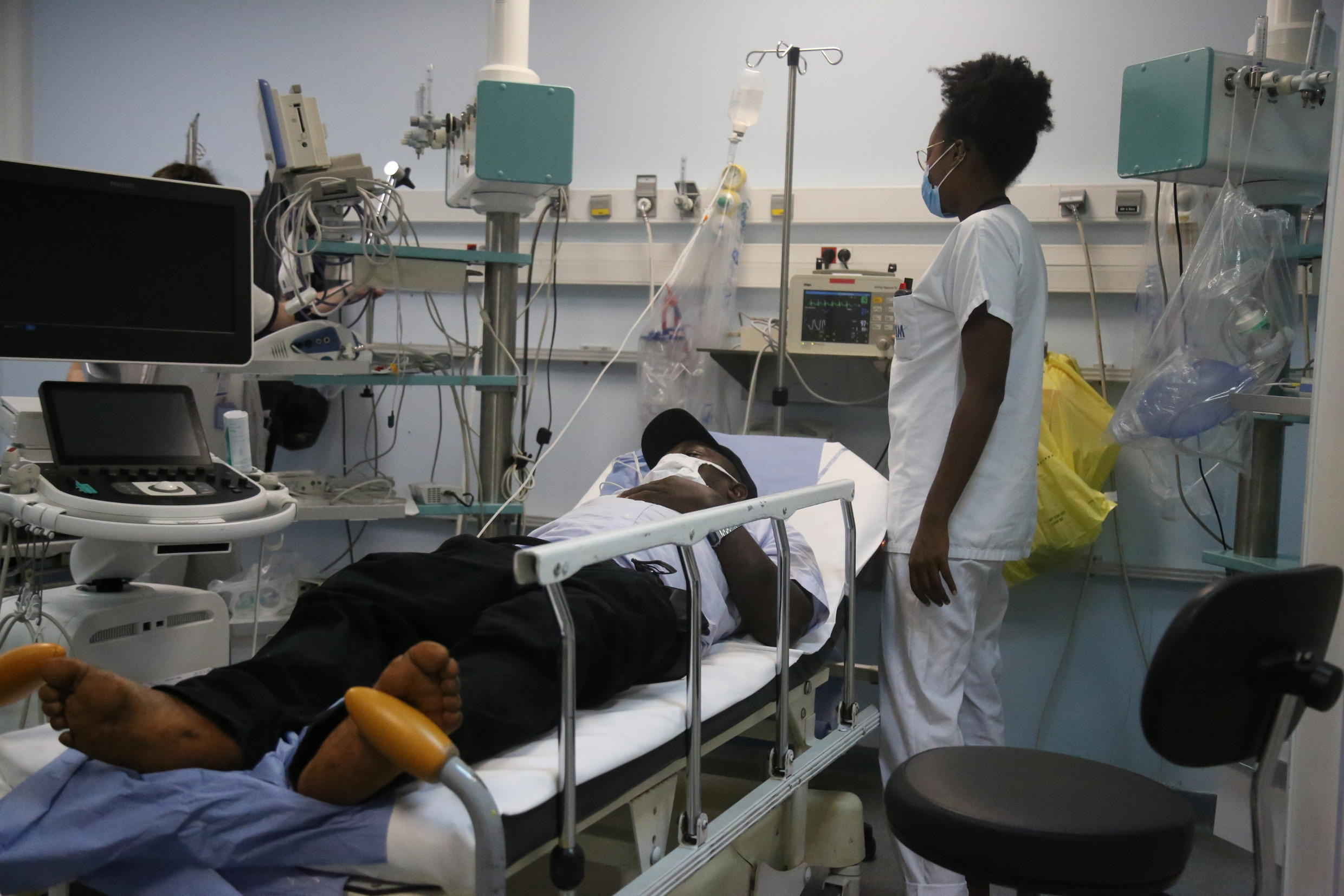 A patient is treated at the emergency room of the Centre Hospitalier de Mayotte (CHM) hospital on the island of Mayotte on May 21 2020.