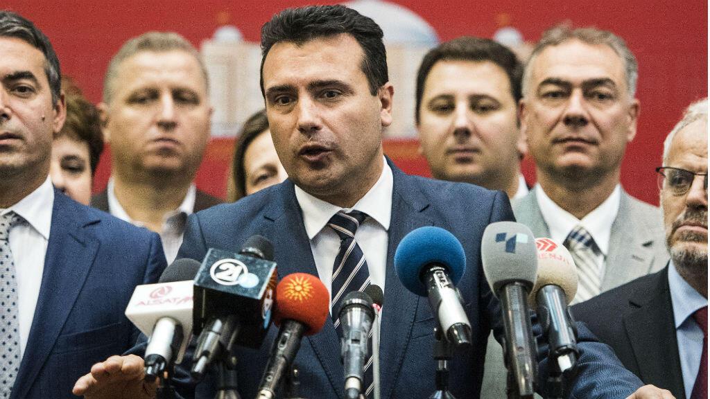 Le Premier ministre macédonien, Zoran Zaev, lors d'une conférence de presse au Parlement macédonien, à Skopje, le 19 octobre 2018.