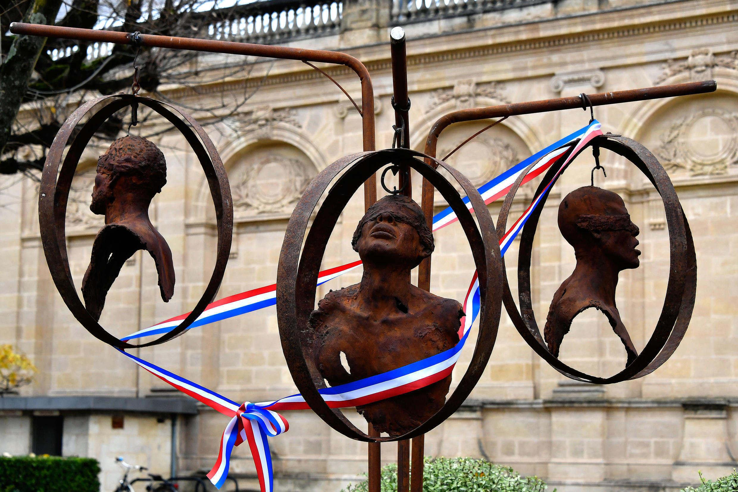 A memorial to the victims of slavery in the gardens of Bordeaux town hall, in southwest France.