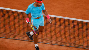 Quick work: Rafael Nadal celebrates after beating Stefano Travaglia