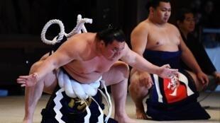 Le yokozuna mongol Hakuho (g), le 7 janvier 2020 à Tokyo