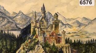 لوحة لقصر نويشفانشتاين في بافاريا من رسم أدولف هتلر