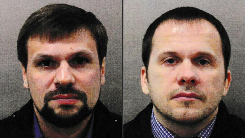 Foto del Servicio de la Policía Metropolitana británica emitida el pasado 5 de septiembre en la que se observa a Ruslan Boshirov (Izquierda) y Alexander Petrov buscados por su presunta relación con el ataque con un agente nervioso a Sergei Skripal y a su hija.