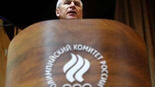 Le ministre russe des Sports, Oleg Matytsin, lors d'une conférence de presse de la Fédération russe d'athlétisme, à Moscou, le 28 février 2020