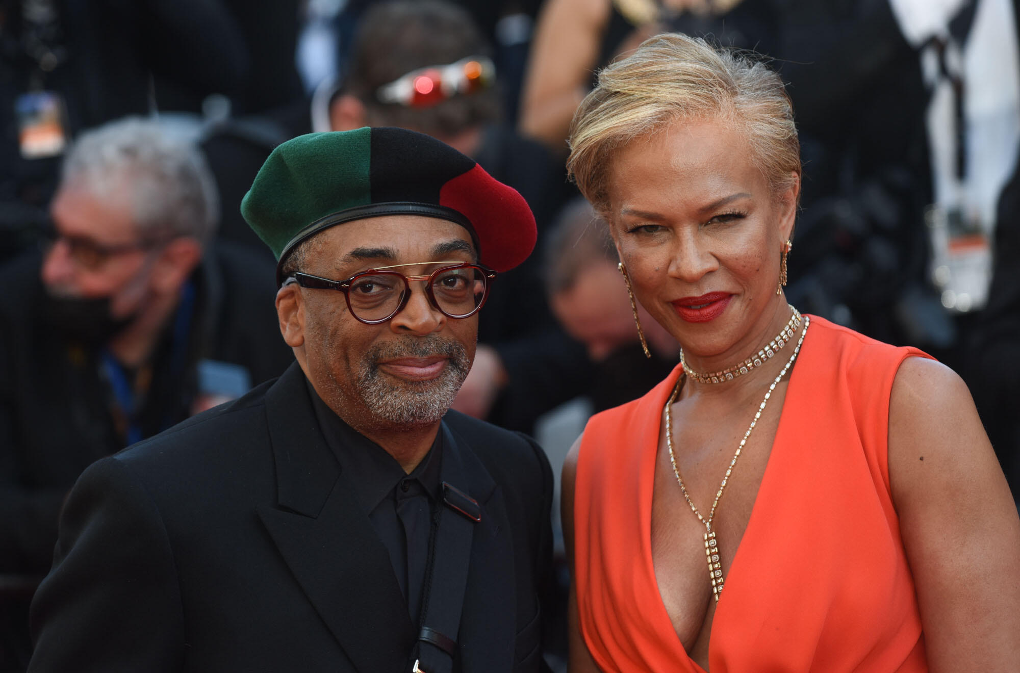 """Jury Chief Spike Lee and his wife Tonya Lewis Lee attend the premiere of Paul Verhoeven's """"Benedetta""""."""