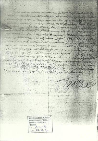 """Le 3 octobre 1904, le général Von Troha émet un ordre de destruction qui déclare que tout Herero présent sur le """"territoire allemand"""" sera abattu"""