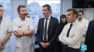 2020-02-27 14:01 Coronavirus en France : E. Macron rassure les équipes de la Salpêtrière
